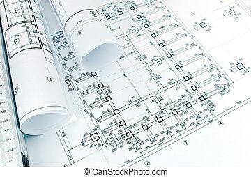 szoba, grafikus, alaprajzok, tekercselt, épület, tervrajz, terv, építészeti, vonalzó