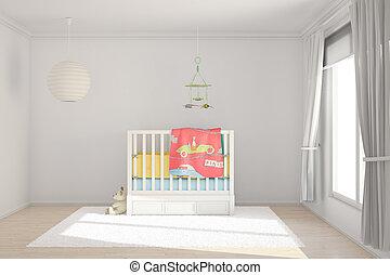 szoba, gyerekek, apró