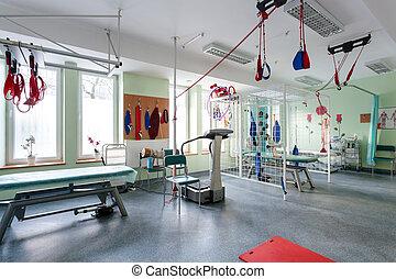 szoba, helyett, fizikoterápia