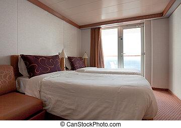 szoba, hotel, -, két, ágy, személyszállító hajó, cirkálás