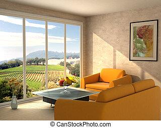 szoba, kilátás