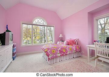szoba, lány, rózsaszínű
