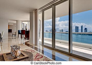 szoba, modern, óceáni látkép