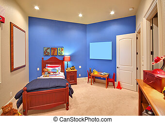 szoba, modern, gyermekek, otthon