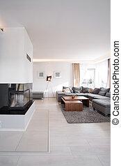 szoba, modern, kandalló