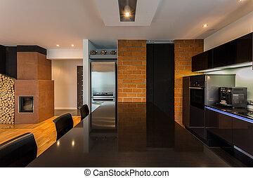 szoba, modern, lakályos