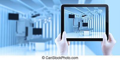 szoba, orvosi, modern, berendezés, felszerelés, működtető