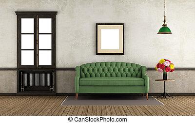 szoba, pamlag, ablak, zöld, retro, üres