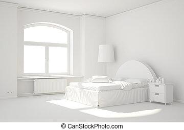 szoba, radiátor, fűtés, ágy, ablak, fehér, üres