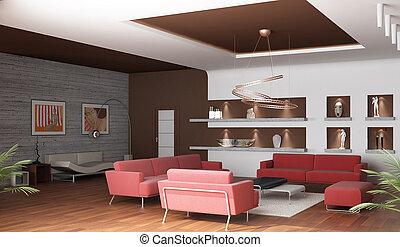 szoba, rendering., három, dívány, tágas, belső, fehér, 3, rajz, piros felhint