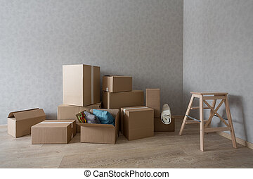 szoba, step-ladder, dobozok, cölöp, új, kartonpapír, üres