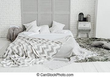 szoba, szürke, tervezés, tágas, hálószoba, belső, kényelmes