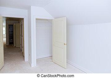 szoba, szerkesztés, belső, új, plasterboard, drywall