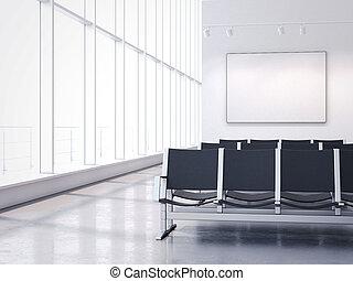 szoba, wall., vakolás, várakozás, transzparens, üres, 3