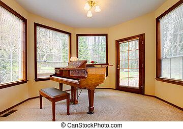 szoba, windows, sok, fényes, zongora, kerek