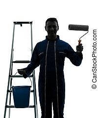 szobafestő, épület, ember, munkás, árnykép