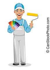 szobafestő, betű, man., festő, karikatúra