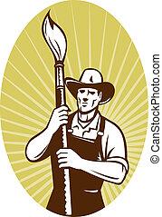 szobafestő, ecset, cowboy