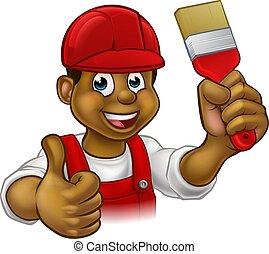 szobafestő, ember, karikatúra, ezermester, festő