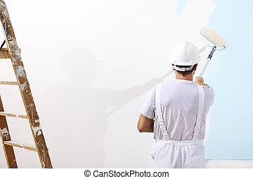 szobafestő, ember, munkában, noha, egy, festőhenger, képben látható, közfal