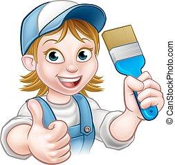 szobafestő, nő, betű, karikatúra, festő