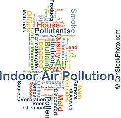 szobai, légszennyeződés, háttér, fogalom