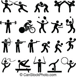 szobai, sport, játék, atlétikai, ikon