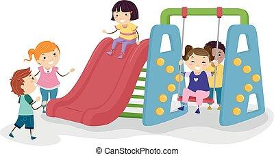 szobai, stickman, játszótér, ábra, gyerekek