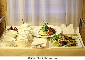 szobapincéri szolgálat, élelmiszer, alapján, étterem
