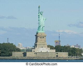 szobor, új, ikonszerű, szabadság, york