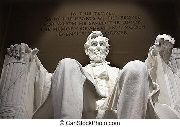 szobor, emlékmű, egyenáram, feláll, lincoln, becsuk, washington, fehér