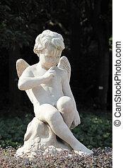 szobor, közül, egy, szárnyas, angyal