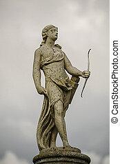 szobor, közül, erosz