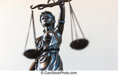 szobor, közül, igazságosság, jelkép, jogi, törvény, fogalom, kép