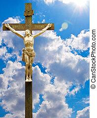 szobor, közül, jesus christ