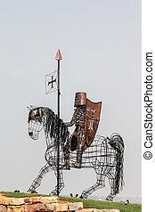 szobor, lovag, középkori, vas, elkészített