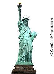 szobor, ny megállapít, fehér, elszigetelt, szabadság