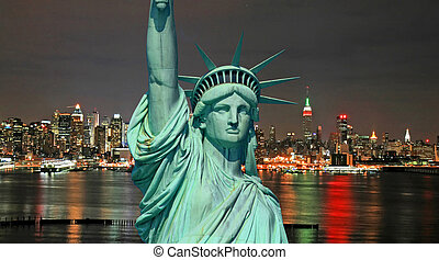 szobor szabadság, és, új york város