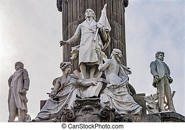 szobrok, mexikó, guerrero, szabadság, hidalgo, emlékmű, ...