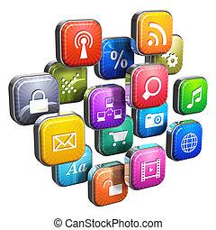 szoftver, concept:, felhő, közül, program, ikonok