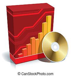 szoftver, doboz, és, cd