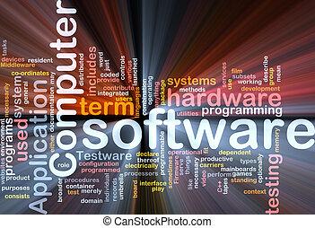 szoftver, szó, felhő, doboz, csomag