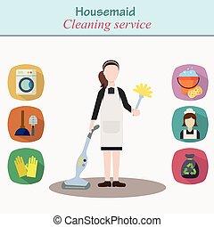 szolgáltatás, épület, -, betű, fiatal, takarítás, nők