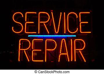 szolgáltatás, és, rendbehozás, aláír