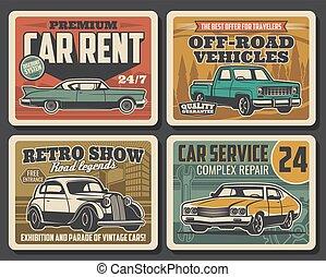 szolgáltatás, autó, autó, retro, ritkaság, rendbehozás, plakátok