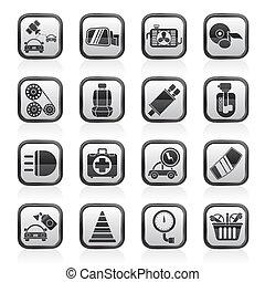 szolgáltatás, autó elválás, ikonok