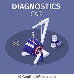 szolgáltatás, autó, kínálat, diagnosztika, profi, transzparens