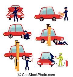 szolgáltatás, autó, munkás, állandó autó, szerelő