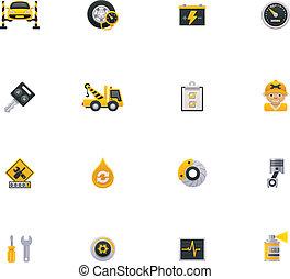 szolgáltatás, autó, set., 1, rész, ikon
