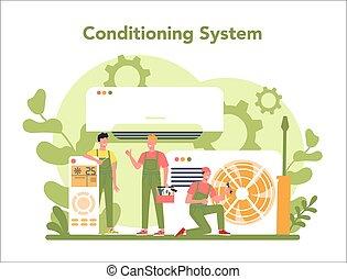 szolgáltatás, concept., rendbehozás, instalation, légkondicionálás, repairman